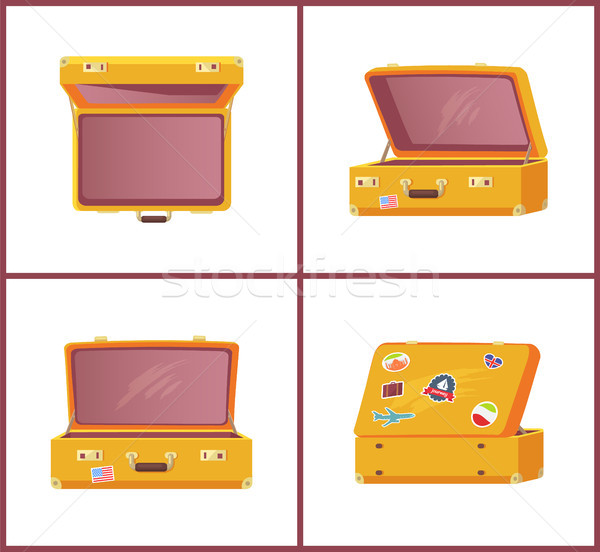 Set of Retro Suitcases Top Side Front View, Memory Stock photo © robuart