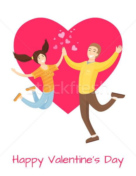 счастливым плакат любителей прыжки дружок Сток-фото © robuart