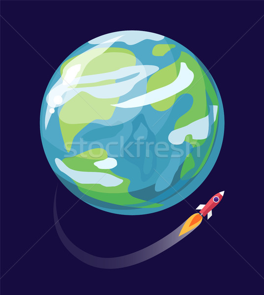 Earth and Spaceship Poster Vector Illustration Stock photo © robuart