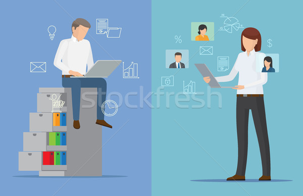 Two Colorful Business Cards Vector Illustration Stock photo © robuart