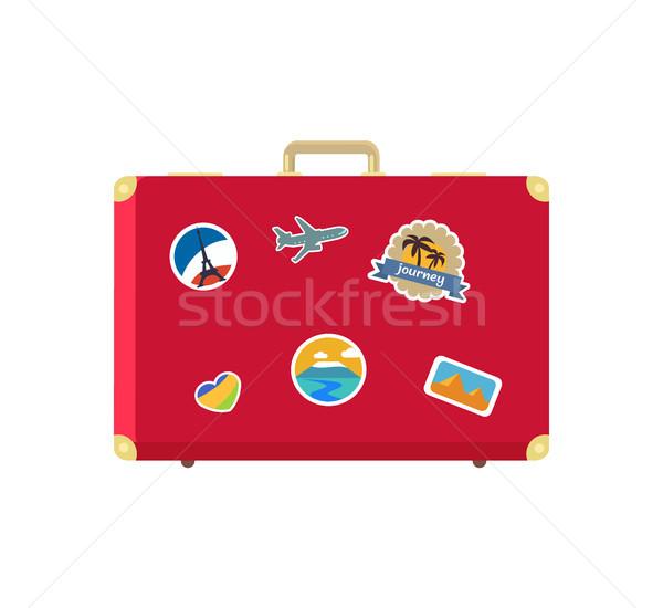 Deri bağbozumu bavul dekoratif bellek kartları Stok fotoğraf © robuart