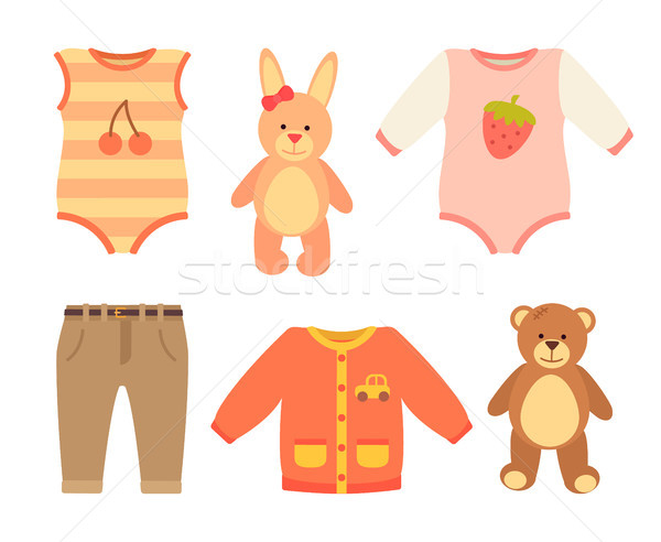 Baby Clothes and Set of Toys Vector Illustration Stock photo © robuart