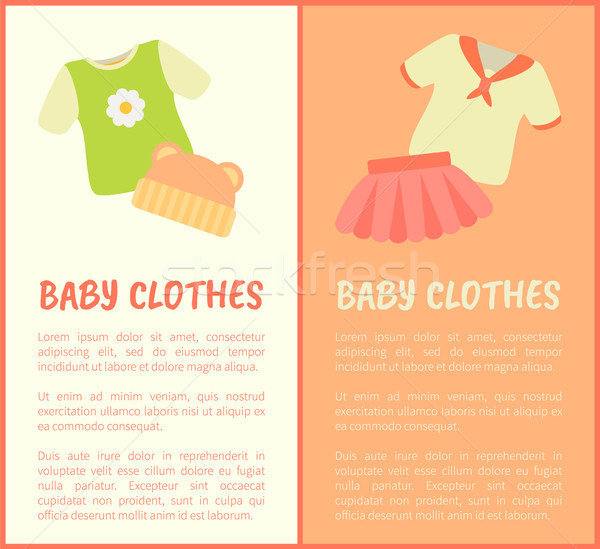 Baby Clothes Framed Banners, Vector Illustration Stock photo © robuart