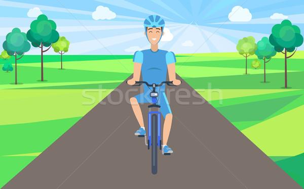 Man fiets paardrijden fietser Stockfoto © robuart