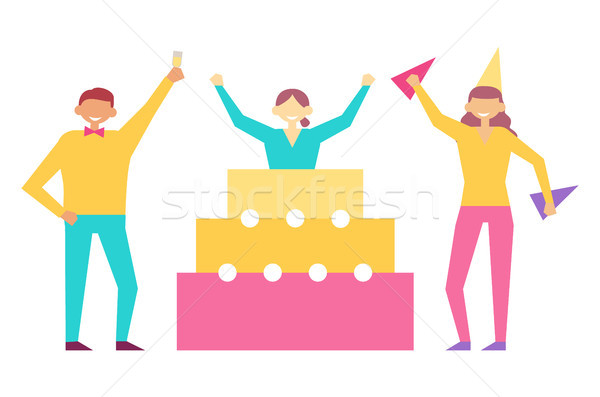 Birthday Party Set of People Having Fun Celebrate Stock photo © robuart