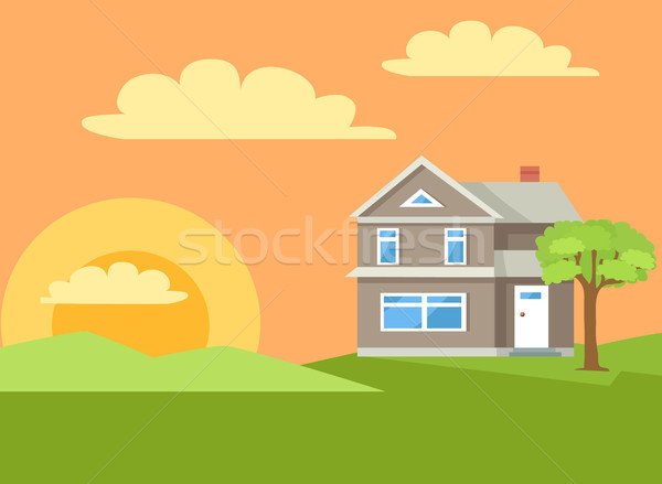 Three Storey House in Rural Countryside Vector Stock photo © robuart