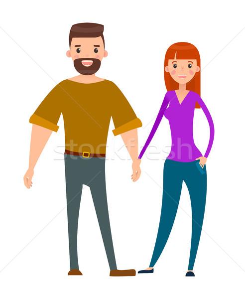 Echtpaar bebaarde mannen mooie vrouw liefhebbers man Stockfoto © robuart