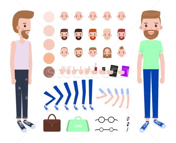Nowoczesne facet części ciała zestaw kolorowy Zdjęcia stock © robuart