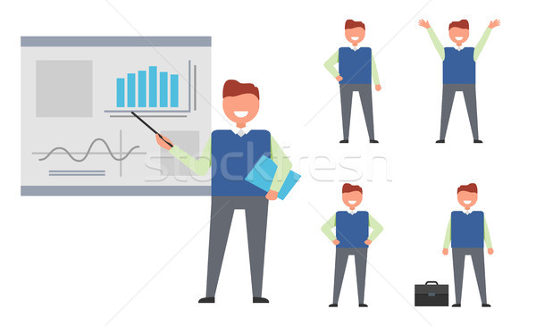 Set of Isolated Icons with Successful Businessman Stock photo © robuart
