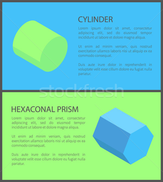 Cylinder and Hexagonal Prism, Colorful Posters Stock photo © robuart