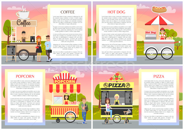 Pizza popcorn caffè hot dog negozi raccolta Foto d'archivio © robuart