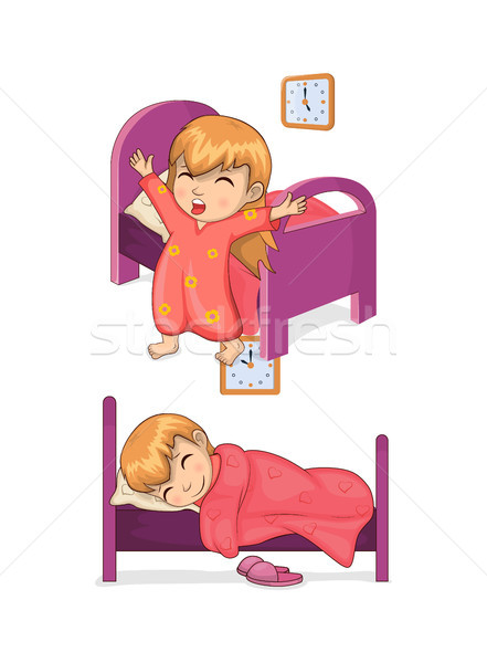 Sleep Time and Girl Collection Vector Illustration Stock photo © robuart