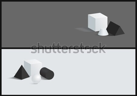 Sphere and Cylinder Vector Cube Figure Collection Stock photo © robuart
