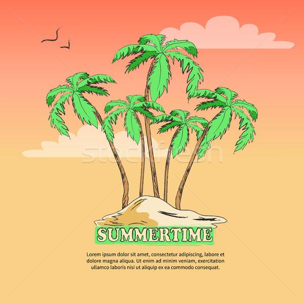 été affiche île palmiers désert Photo stock © robuart