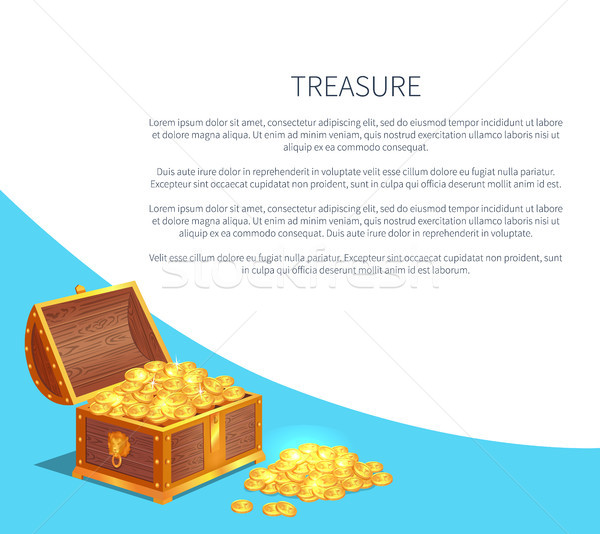 Treasure Poster with Shiny Gold Ancient Coins in Chest Stock photo © robuart