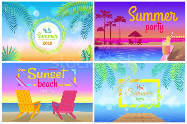 Naplemente tengerpart buli hello nyár idő Stock fotó © robuart