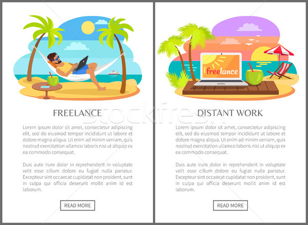 Freelance and Distant Work Advertisements Set Stock photo © robuart
