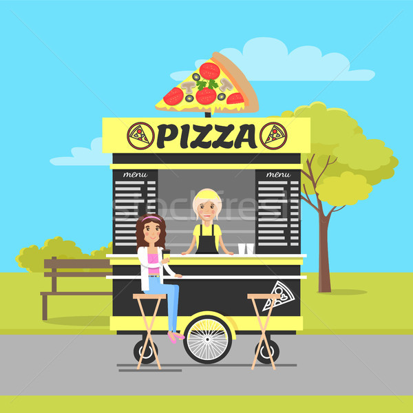 Pizza Wagon in Autumn Park Vector Illustration Stock photo © robuart