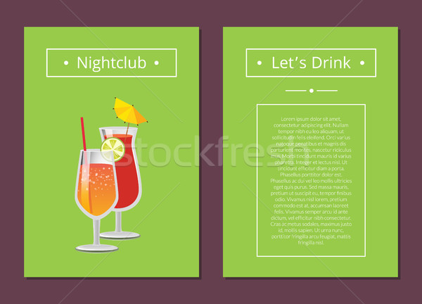 Nightclub Parties Lets Drink Poster with Lemonade Stock photo © robuart