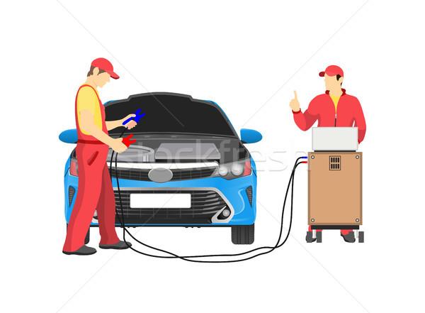Naprawa samochodów usługi streszczenie dwa mechanika czerwony Zdjęcia stock © robuart