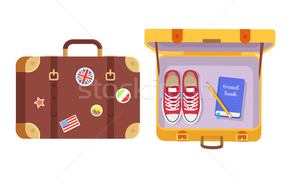 Suitcases Set, Traveler s Equipment Color Poster Stock photo © robuart