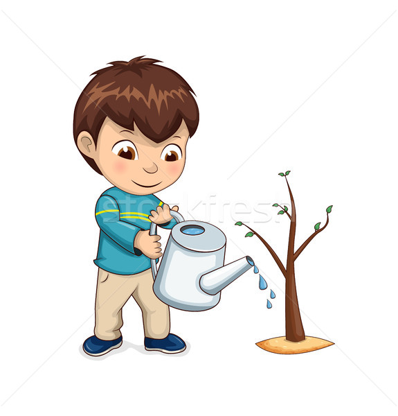 Child Watering Growing Tree Vector Illustration Stock photo © robuart