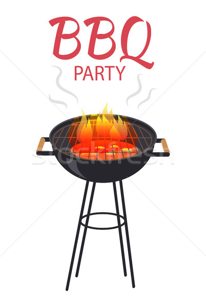BBQ Party Food and Fire Poster Vector Illustration Stock photo © robuart