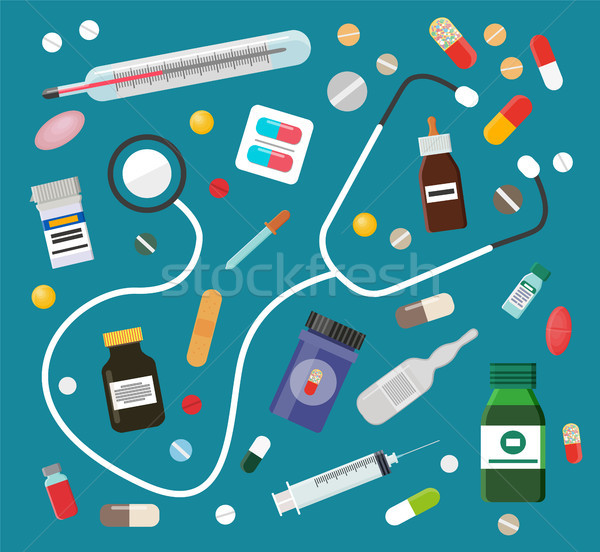 Medicines in Pills or Syrups and Stethoscope Set Stock photo © robuart