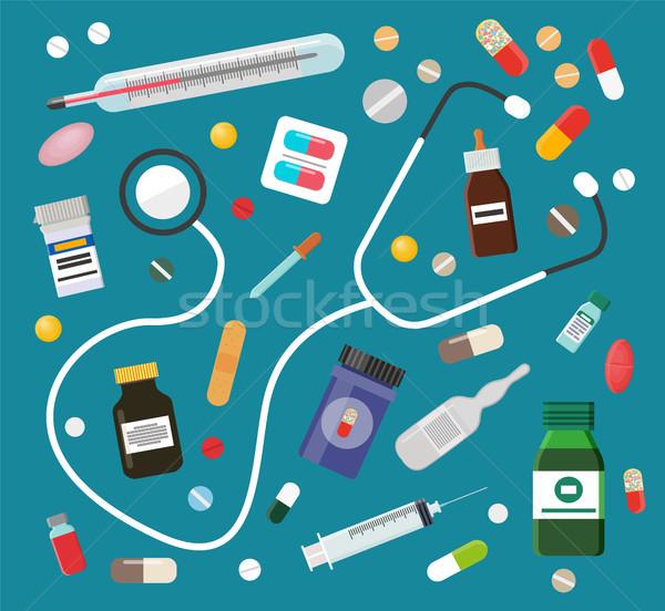 Pílulas estetoscópio conjunto equipamentos médicos tratamento termômetro Foto stock © robuart