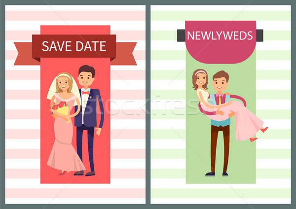 Save Date and Newlyweds Set Vector Illustration Stock photo © robuart