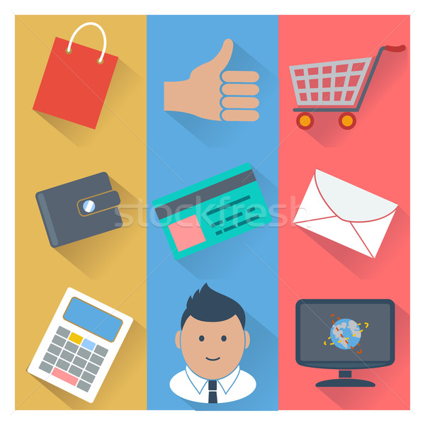 Online shopping and payment methods icons Stock photo © robuart
