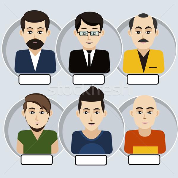 Set of stylish avatars man icons Stock photo © robuart