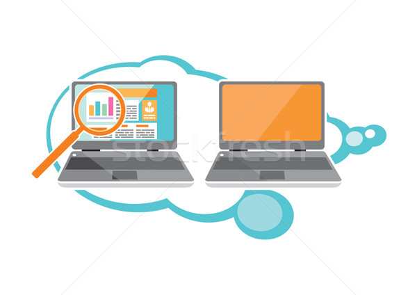 Web site seo analytics charts on screen of PC Stock photo © robuart