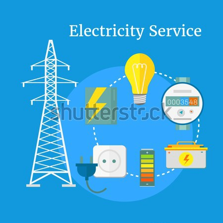электростанция энергии иконки дизайна электрик команда Сток-фото © robuart