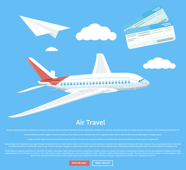Air travel concept flying plane Stock photo © robuart