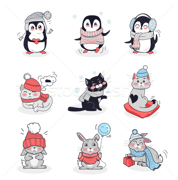 Set Animals in Warm Clothes Design Flat Stock photo © robuart