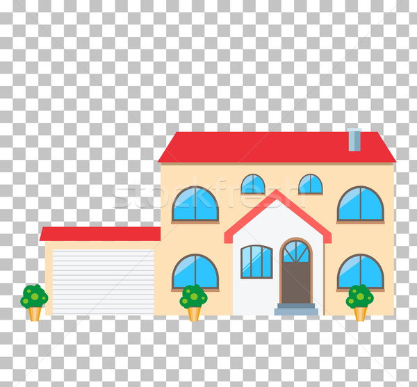 Maison maison icône immobilier faible isolé Photo stock © robuart