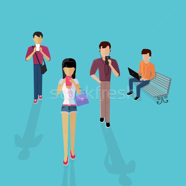 Groep mensen gadgets ontwerp mannen vrouwen mobiele telefoon Stockfoto © robuart