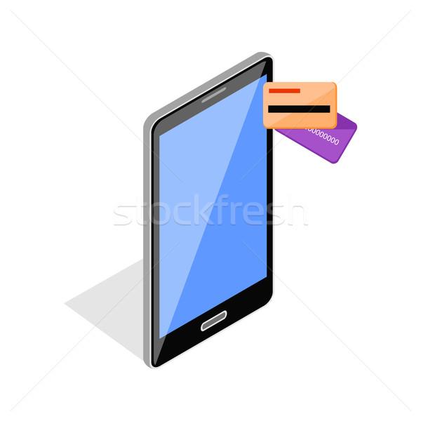 を 支払い カード 電話 スマートフォン タッチスクリーン ストックフォト © robuart