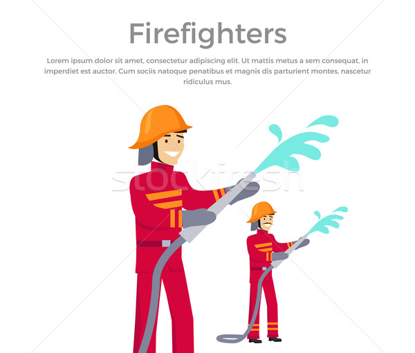 Firefighters Team People Group Flat Style Stock photo © robuart