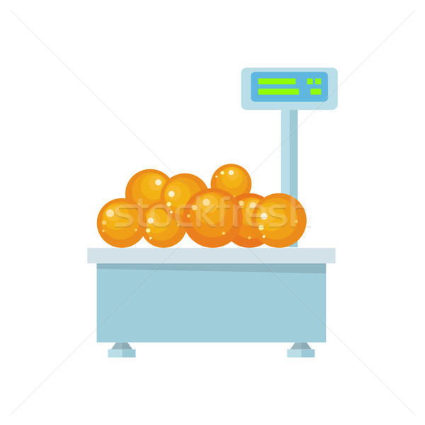 Tray with Oranges on Store Scales Vector. Stock photo © robuart