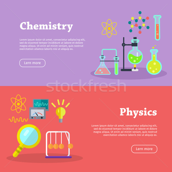 Chemistry and Physics Science Banners. Vector Stock photo © robuart