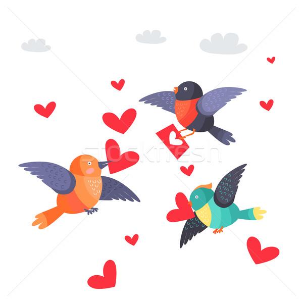 Uccelli cuori becco busta battenti isolato Foto d'archivio © robuart