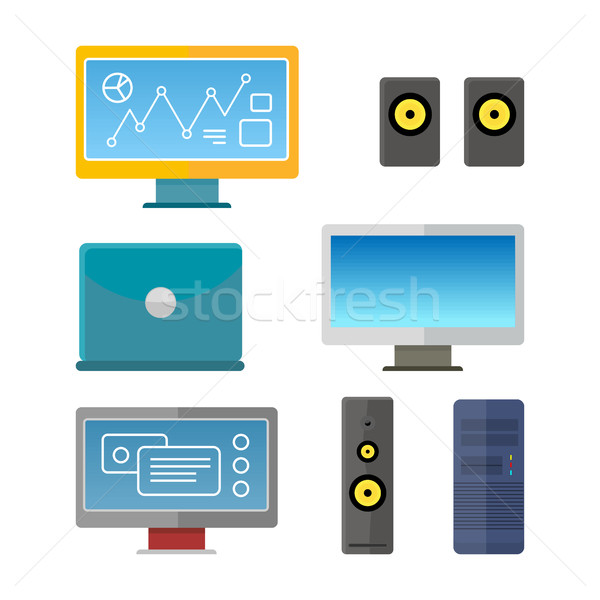 Set of Computer Peripherals Illustrations. Stock photo © robuart