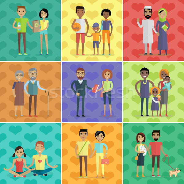 People of world vector concept in flat design Stock photo © robuart