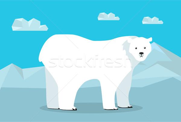 смешные полярный медведь иллюстрация Арктика ледник ходьбе Сток-фото © robuart
