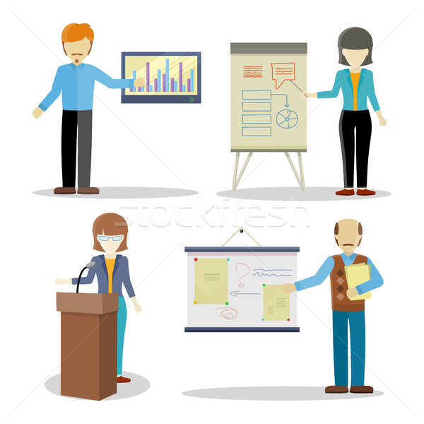 Set of Business Coaches Characters in Flat Design. Stock photo © robuart