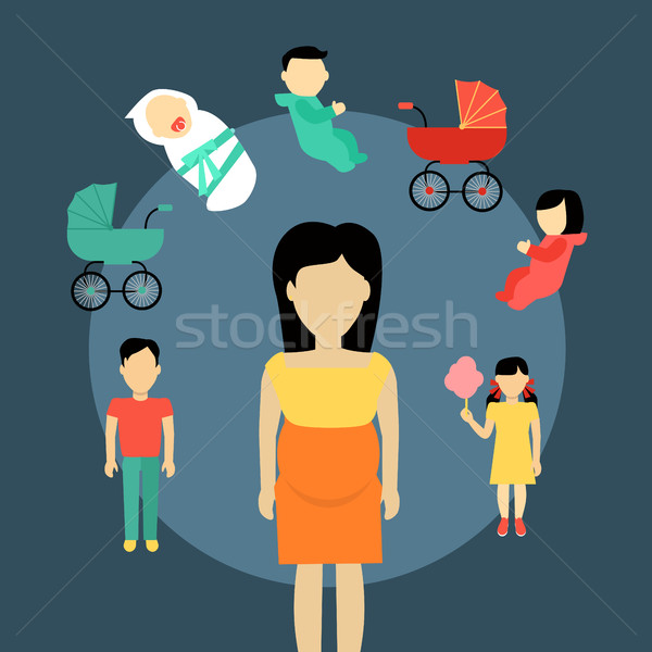 Maternidade ilustração projeto família vetor crianças Foto stock © robuart
