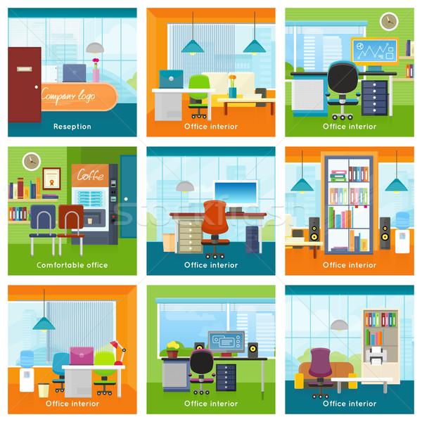 Colección oficina interiores vectores establecer interior Foto stock © robuart