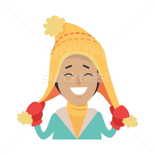 Hat. Happy Smiling Boy with Yellow Cap on Head Stock photo © robuart